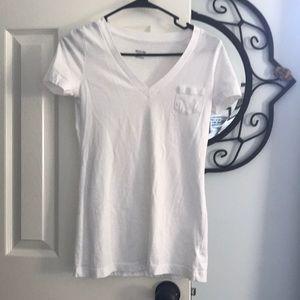 White v neck with pocket
